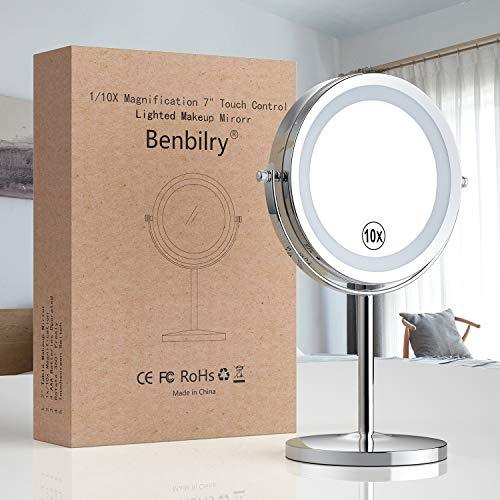 Benbilry Lighted Makeup Mirror - LED Double Sided 1x/10x Magnification Cosmetic Mirror,7 Inch Battery-Powered 360 Degree Rotation Vanity Mirror with On/Off Push-Button