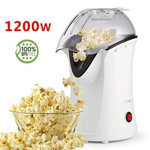 Hot Air Popcorn Popper, Popcorn Maker, 1200W Electric Popcorn Machine with Measuring Cup and Removable Lid, Healthy Popcorn Maker for Home, No Oil Needed, Great For Kids (White)