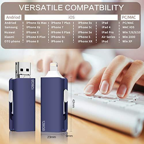 USB Flash Drive for iPhone, 256GB Capacity iPhone External Storage, 3.0 Flash Drive Compatible with Mobile Phone and Computer, Suitable for iPhone iPad Android and Computers (Dark Blue)