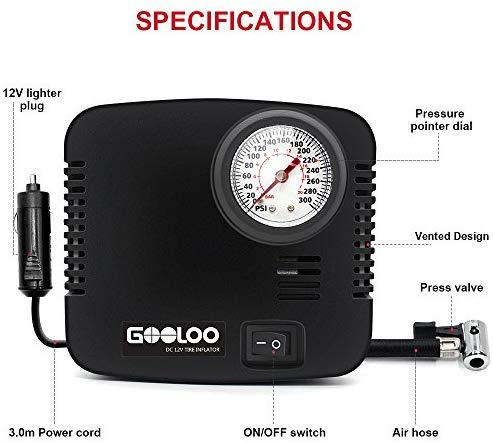 GOOLOO DC 12V Portable Air Compressor - 300 PSI Tire Inflator Pump for Car, Bicycle, Motorcycles, Balls and Others