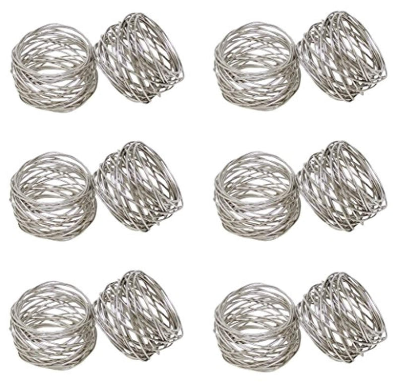 SKAVIJ Round Mesh Napkin Rings Set of 12 Silver for Wedding Banquet Dinner Decor Favor
