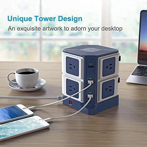 BESTEK Power Strip Tower 8-Outlet and 6 Smart USB Charging Ports 1500 Joules Surge Protector with 6 Feet Extension Cord ETL Listed