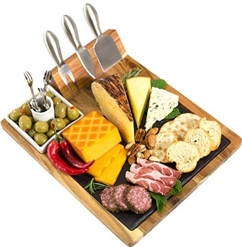 Home Perspective Slate Cheese Board Set, 10 Piece Set Includes 4 Stainless Steel Cheese Tools, Premium Acacia Serving Tray with Slate Board, and Porcelain Olive Dish