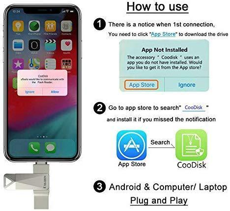 USB Flash Drive 128GB Memory Stick External Storage for iPhone 2in1 Photo Stick USB3.0 Thumb Drive Puanv Compatible iPhone iPad iOS MacBook and Computer (Silver-128G)