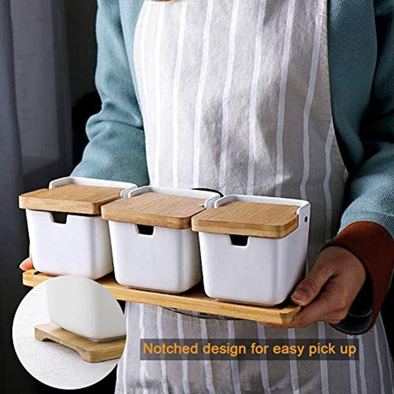 Ceramic Condiment Containers Spice Jars with spoon - Bamboo Spice Containers with Lids, Sugar Storage Container and Salt Seasoning Box for Kitchen and Home, White, 250ML (8.54OZ), Set of 3
