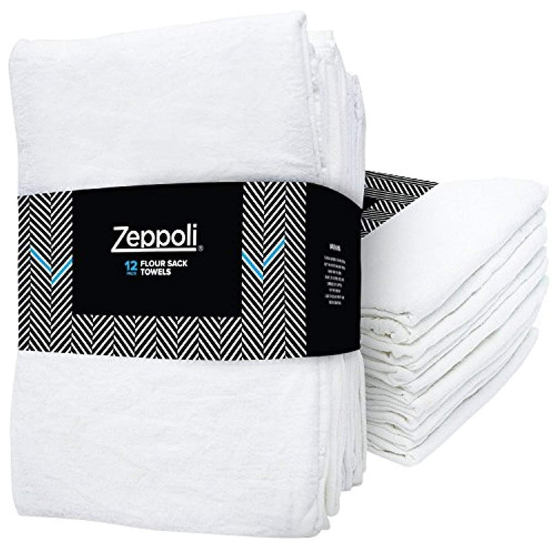 "Zeppoli 12-Pack Flour Sack Towels - 31"" x 31"" Kitchen Towels - Absorbent White Dish Towels - 100% Ring Spun Cotton Bar Towels"