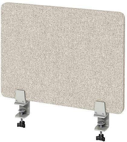 "VaRoom Acoustic Desktop Privacy Divider, 23""W x 18""H Sound Absorbing Clamp-on Cubicle Desk Divider Partition Panel in Light Grey Tackable Fabric"