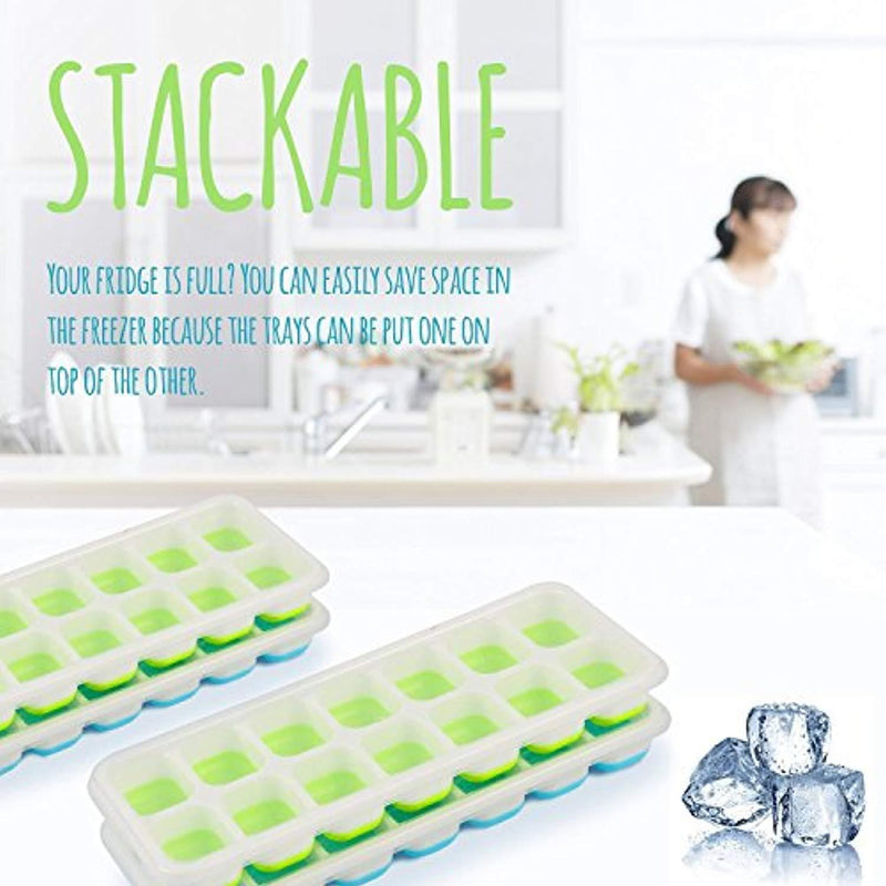 Happy To Go Ice Cube Trays with Lids – Pack of 4