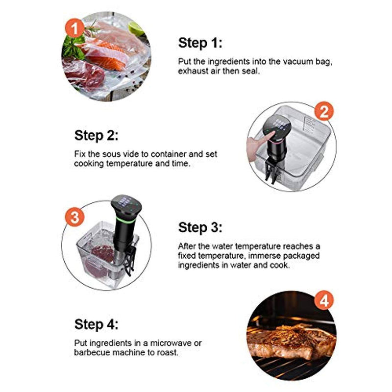 Sous Vide Cooker Accurate Immersion Cooker Control Temperature and Timer, 1100 Watts, 100-120V, Sous Vide Cookbook Included by VPCOK