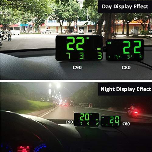 Digital Universal GPS HUD Speedometer Display GPS Head Up Dispaly Speedometer Car Truck Odometer with Over Speed Warning/Car Clock / 5.4in Large Screen KingNeed C90