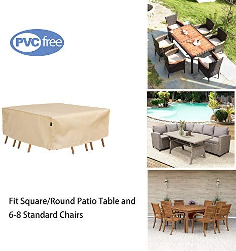 FLYMEI 94 Inch Round Patio Waterproof Table & Chair Set Cover