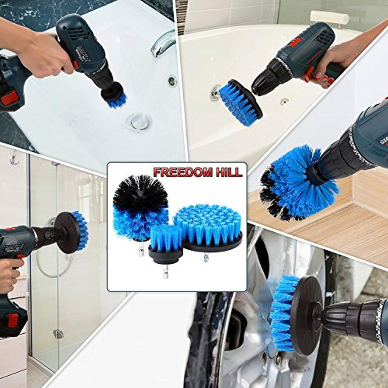 Multipurpose Drill Brush Attachment Kit - All Purpose Scrubber Cleaner for Bathroom, Kitchen, Grout, Floor Tiles, Carpet - Set of 3 Brushes, 2 Free Pairs of Non Latex Gloves Included!