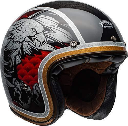 Bell Custom 500 Carbon Open-Face Motorcycle Helmet (Ace Cafe Tonup Black/White, X-Large)