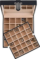 50 Slot Wooden Jewelry Box to Organize Earrings, Rings, Cuff Links with Mirror in Black Finish
