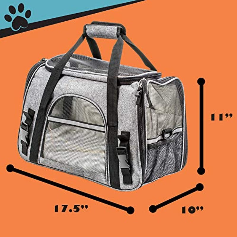Pawfect Pets Airline Approved Pet Carrier Soft-Sided Cat Carrier and Dog Carrier for Small Dogs and Cats, Fits Underneath Airplane Seat. Comes with Two Fleece Pet Mats.
