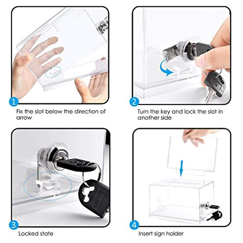 Clear Donation Box with Lock and Sign Holder Acrylic Ballot Box Tip Box Clear by Jlin EZwarehouse
