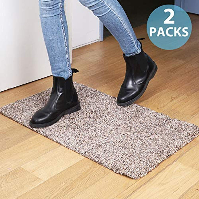 "2 Packs of Premium Absorbs Magic Door Mat Size : 17.7"" X 29.5"" for Doorway, Staircase, Shoe Mat, Balcony, Front door, Mud mat Non-Slip Latex Backing, Pick up Mud, Dirt, Dust, Water from shoe and Pet"