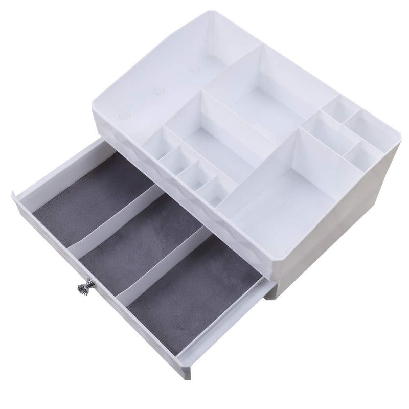 Benbilry Makeup Organizer Cosmetic Storage Box Jewelry Storage with 1 Drawer 12 Compartments, Large Capacity, Suitable for Your Different Size of Cosmetics for Bathroom Vanity Countertop Dresser