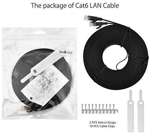 Lovicool Cat 6 Ethernet Patch Cable 100 ft Black, 4-Pair UTP Flat Networking Patch LAN Cable Ethernet Cords Network Wire Speed up to 250MHz with RJ45 Connectors 30m