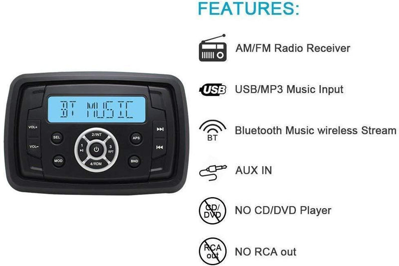 Marine Stereo Audio Radio FM AM Bluetooth Music with USB Input for ATV UTV RZR XP900 Motorcycle Boat Golf Cart Truck SPA Heavyduty Powersports Car MP3 Player Vehicles Headunit Sound System