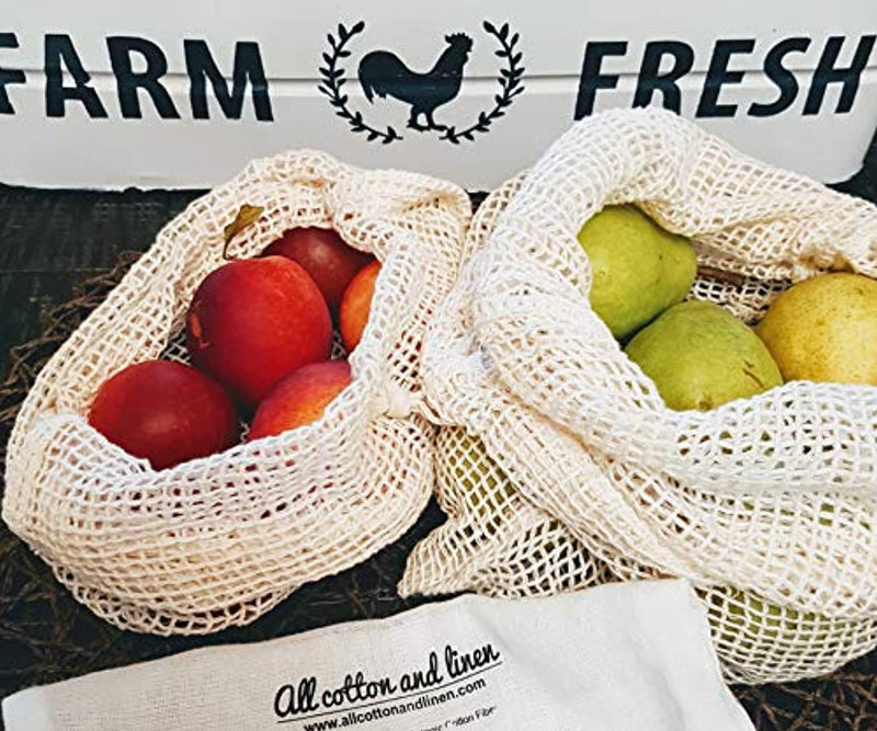 Reusable Produce Bags - Organic Cotton Vegetable Bags - Mesh Produce Bags - Cotton Vegetable Bags - Veggie Bags - Cotton Produce Bag - Reusable Fresh Bags - Set of 6 (2 of M, L, XL)