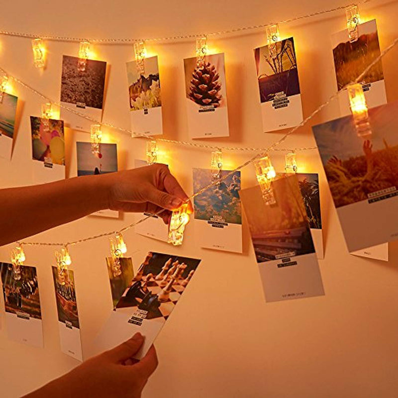 JESWELL Photo Clip String Lights 40 Led Battery Powered Led Picture Clip Light, Photo Display Lights for for Bedroom Party Wedding Birthday Christmas Decorations, 2 Light Modes, Warm White
