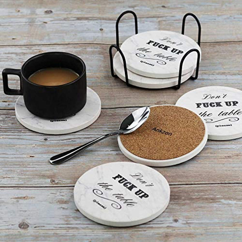 Coasters for Drinks | Absorbent Drink Coaster (6-Piece Set with Holder) | Housewarming Hostess Gifts, Man Cave House Warming Presents Decor, Wedding Registry, Living Room Decorations, Cool Gift Ideas