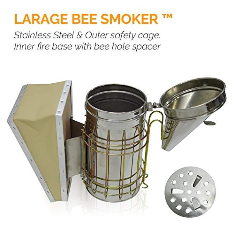 Aspectek Bee Hive Smoker, Beekeeping Equipment, Heavy Duty Stainless Steel Large Size , Superior Airflow Bellow and Excellent Smoke Output for Beekeeping