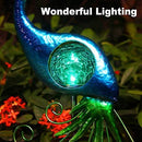 ATHLERIA Garden Solar Lights Stake, Metal Peacock Decor Solar Garden Lights Solar Peacock Stake for Outdoor Patio Yard Decorations (Blue Lampshade)