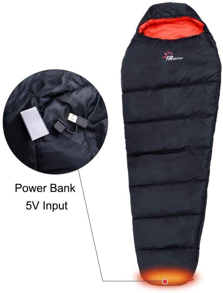FIRSERMO Electric Heated Sleeping Bag Lightweight Portable Waterproof Comfort Mummy Bags, Perfect for Adults Camping/Hiking