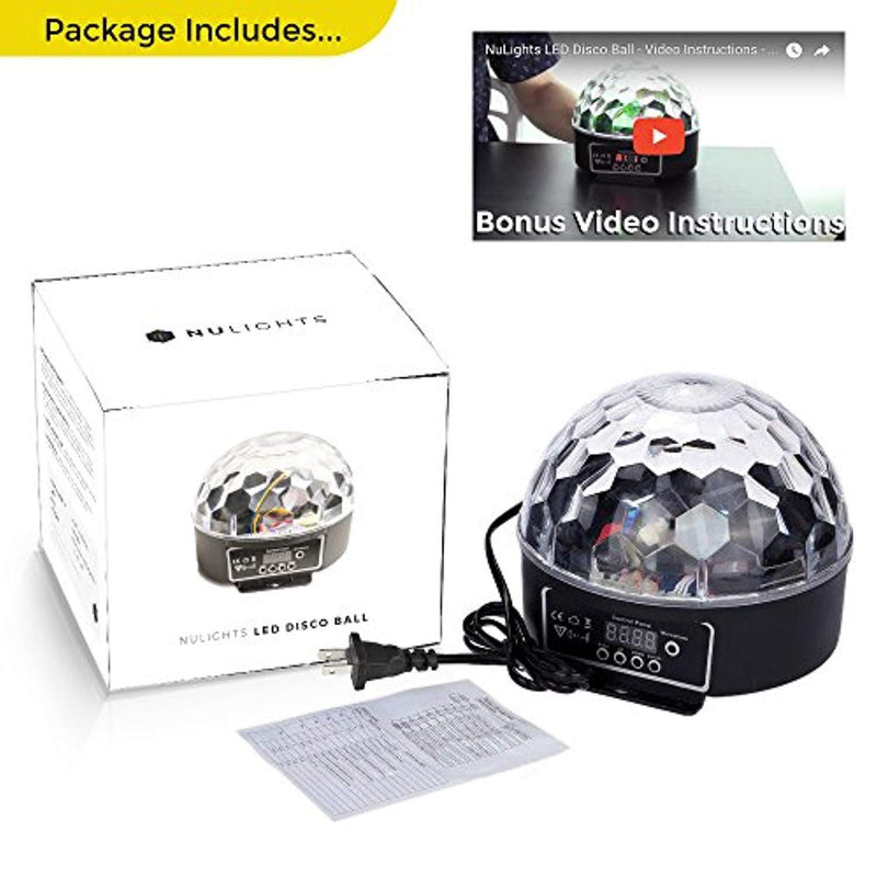 LED Disco Ball by NuLights - RGB LED Party Lights - 100% RISK FREE! Best for Kids Parties, DJ & Mood Lighting. Party Light for Indoors/Outdoors - DMX, Sound Activated, Digital Display, 5 Color