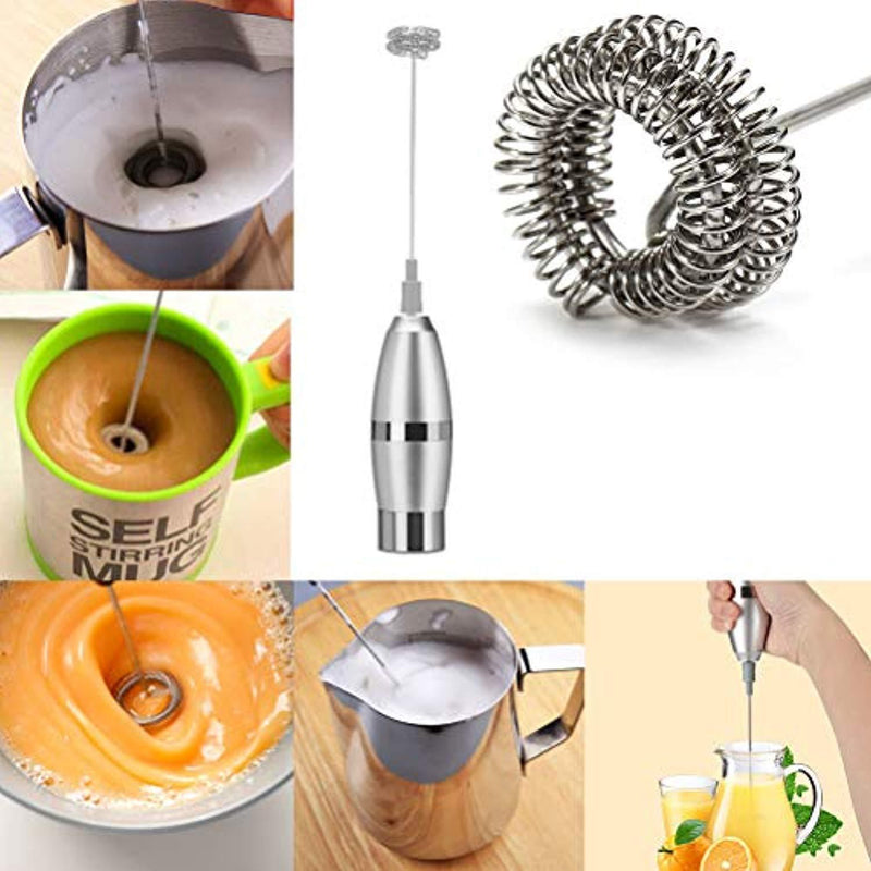 Milk Frother Electric Handheld Foamer Maker For Coffee, Hot Chocolate, Latte, Cappuccinos, Durable Stainless Steel Drink Mixer With Double Spring Spiral Whisk milk Mixer (Free Battery Included)