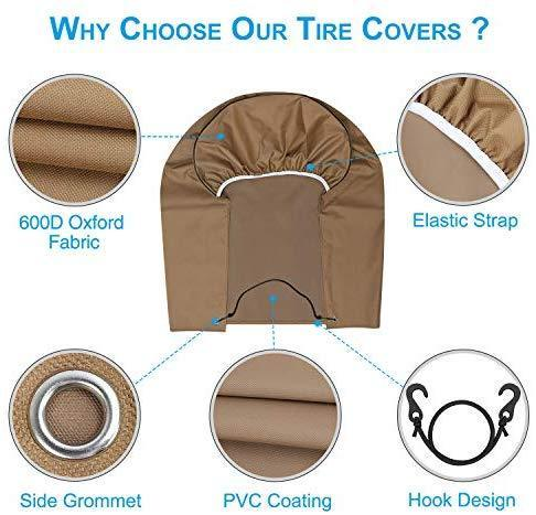 "RVMasking Tire Covers for RV Wheel Set of 4 Heavy Duty 600D Oxford Motorhome Wheel Covers, Waterproof PVC Coating Tire Protectors for Trailer Truck Camper Auto, Fits 29' - 31.75"" Tire Diameters"