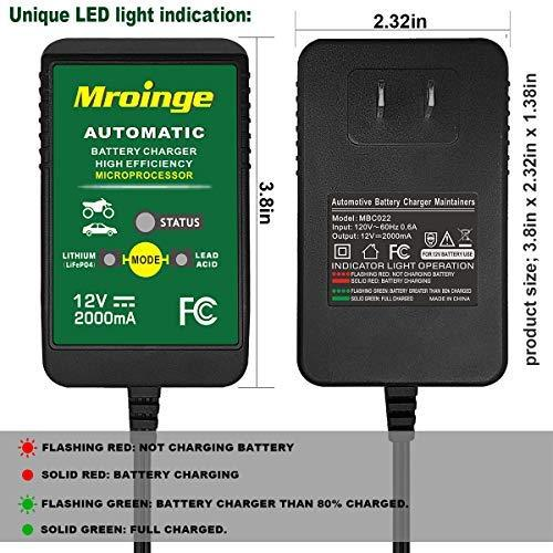 Mroinge 12V 2A Lead Acid/Lithium(LiFePO4) Automatic Trickle Battery Charger Smart Battery Maintainer for Car Motorcycle Lawn Mower Boat ATV SLA AGM GEL CELL Lithium(LiFePO4) and More Batteries