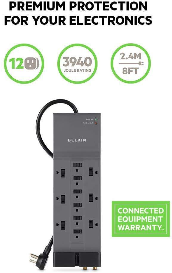 Belkin 12-Outlet Power Strip Surge Protector w/ 8ft Cord – Ideal for Computers, Home Theatre, Appliances, Office Equipment and more (3,940 Joules)