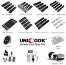 "Unicook Porcelain Large Grill Heat Plate 4 Pack, 6'' Extra Width, Extends from 15.75"" to 18.75"" Length, Adjustable Grill Heat Shield, Heat Tent Replacement Parts for Gas Grills"