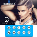 Bluetooth Retractable Headphones, Wireless Earbuds Neckband Headset Noise Cancelling Stereo Earphones with Mic (15 Hours Play Time, Black)