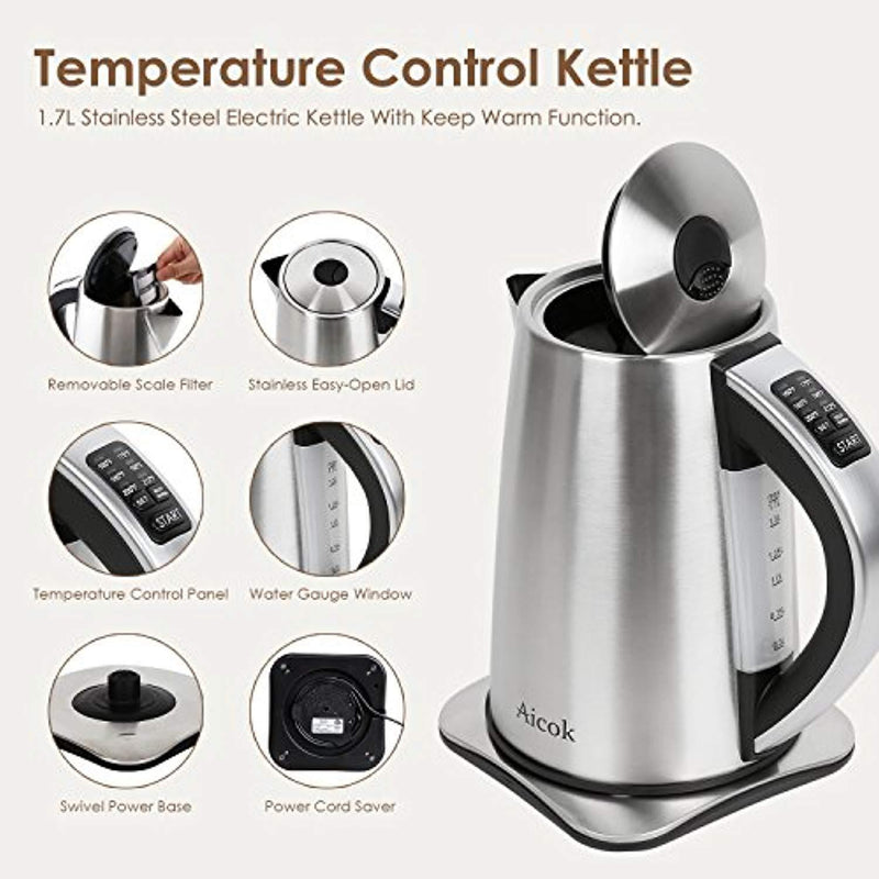Electric Kettle Variable Temperature Stainless Steel Tea Kettle, Cordless Electric Water Kettle with 1500W SpeedBoil, Auto Shut Off and Boil-Dry Protection, 1.7-Liter Boiler by Aicok