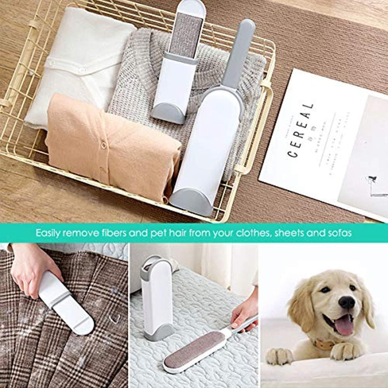 Lint Brush Pet Fur Hair Remover Brush with Self-Cleaning Base - Dog & Cat Hair Remover for Furniture, Couch, Carpet, Bed, Car Seat, Clothing - Animal Fur & Dust Removal Double-Sided Tool