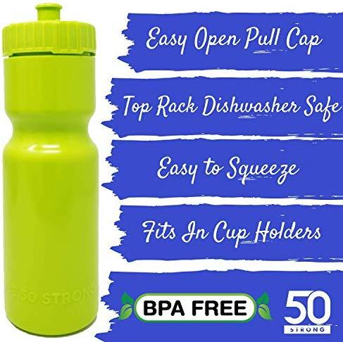 50 Strong Sports Squeeze Water Bottles - Set of 6 - Team Pack – 22 oz. BPA Free Bottle Easy Open Push/Pull Cap – Made in USA - Multiple Colors Available