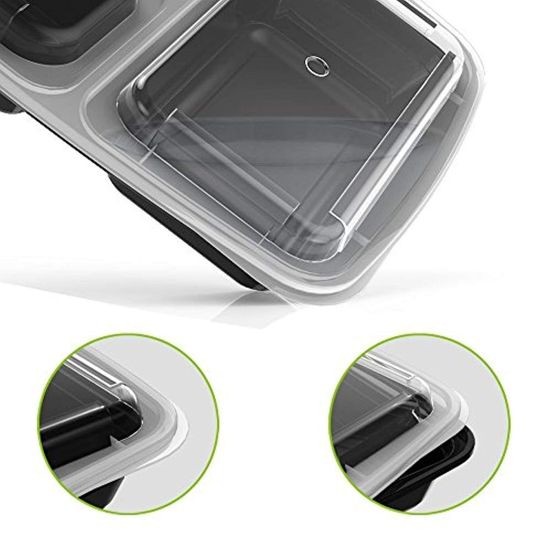 Homgeek 15-Pack Meal Prep Containers 3 Compartment BPA-Free Food Storage Stackable Reusable Microwave Dishwasher & Freezer Safe Bento Lunch Boxes with Airtight Leads for Portion Control