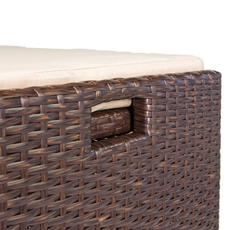 Barton Outdoor Storage Bench Rattan Style Deck Box Wicker Patio Furniture Water Resistance w/Seat Cushion, 60-Gallon, Brown
