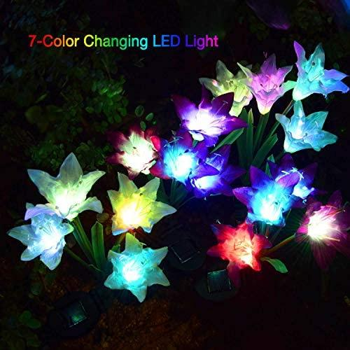 ATHLERIA Outdoor Solar Lights, 4 Pack Solar Garden Lights with 16 Bigger Lily Flowers, Waterproof 7 Color Changing Outdoor Lights - Bigger Solar Panel for Garden Patio Yard Pathway Decoration