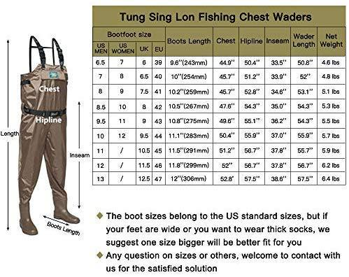 Tung Hsing Lon Fishing Chest Waders for Men Women with Cleated Bootfoot Hunting Waders Fishing Overalls Waterproof and Breathable