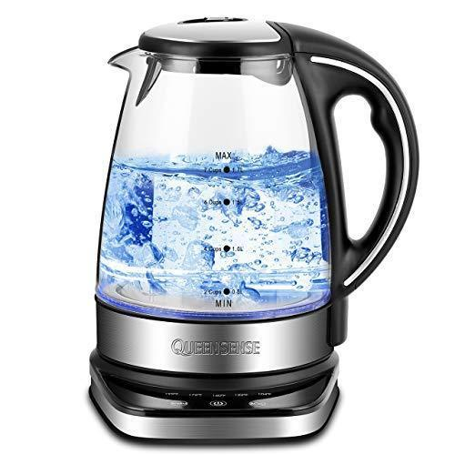 Electric Kettle - Water Kettle Electric Tea Kettle, 57Oz, 1.8 QT Fast Heating Glass Electric Kettle with Blue Led, Borosilicate Glass, Boil Dry Protection & Automatic Shutoff