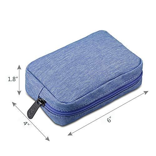 E-Tree 7 inch Canvas Zippered Small Bag, Mini Travel Makeup Carrying Case, Cosmetic Bag, Portable Electronics Accessories Organizer, Tiny Coin Purse Wallet, Little Pouch for Little Items, Blue