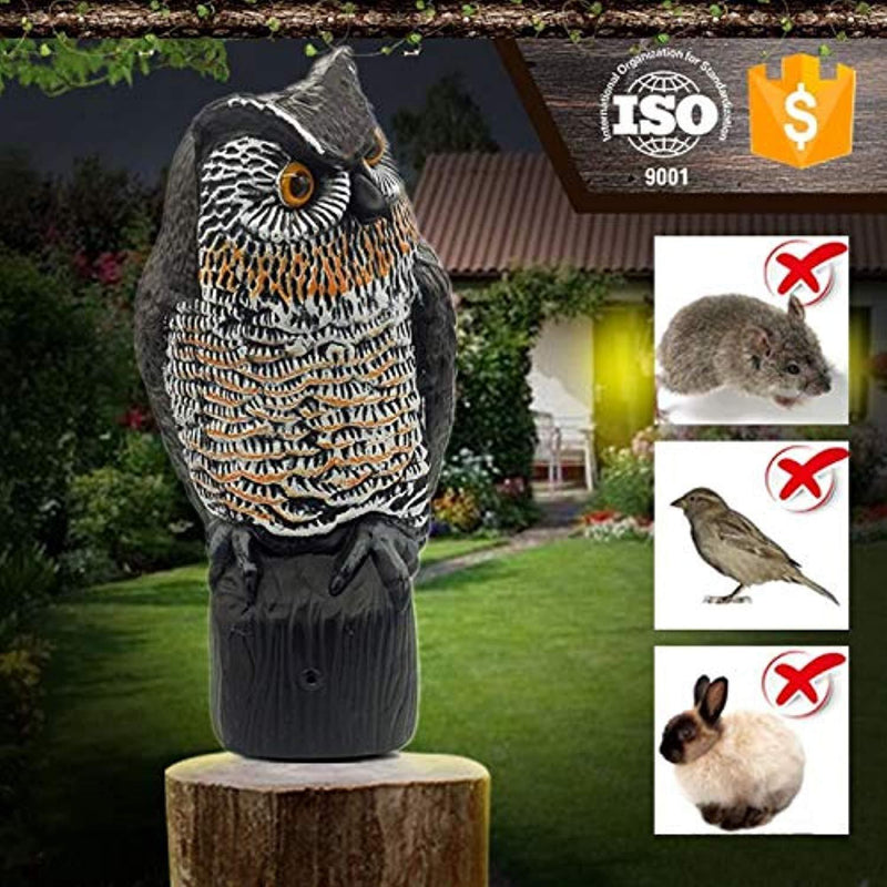 Lijo Solar Owl Animal Scarecrow – Motion Activated Owl Decoy with Sound and Flashing Eyes, Realistic Decor for Your Garden, Bird Repellant, 16 inches, New and Improved
