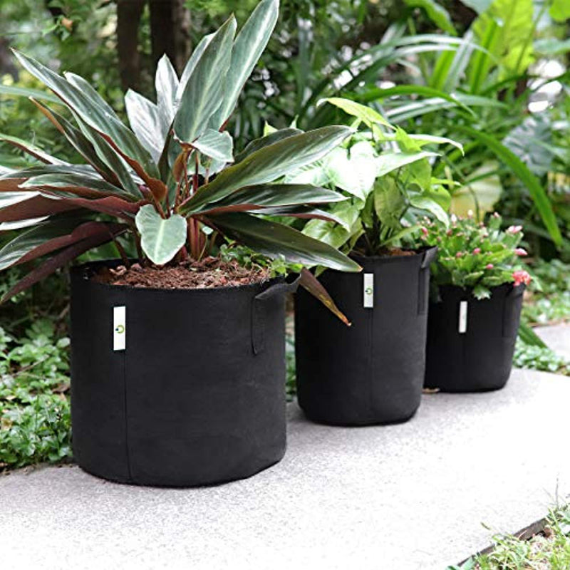 OPULENT SYSTEMS 5-Pack 5 Gallon Grow Bags Heavy Duty Aeration Fabric Growing Bag Thickened Nonwoven Fabric Containers for Potato Plant Pots with Handles (Black)