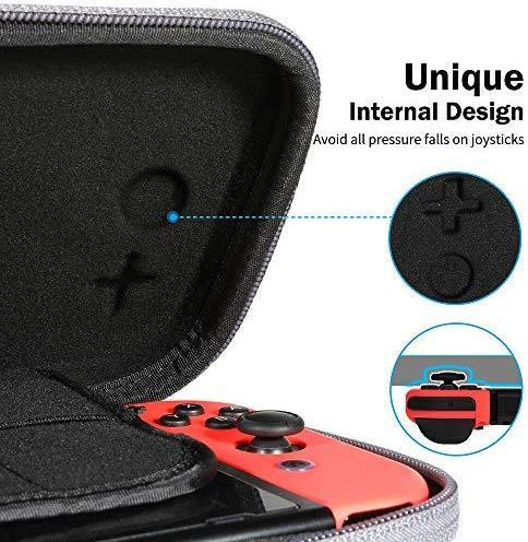 Nintendo Switch Case, VUP Switch Hard Cover Protective Travel Storage Shell for Nintendo Switch Console & Accessories with 18 Game Cartridges and Handle (Gray)