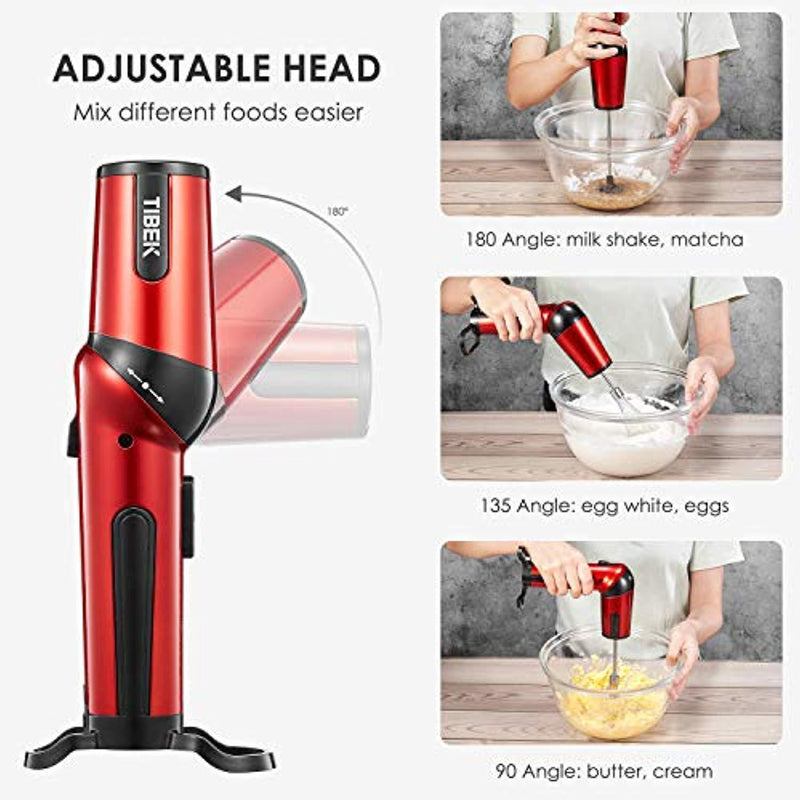 Hand Mixer The Most Portable Electric Egg Beaters, Adjustable Head for Whisk/Beat/Mix with 2 Speed, USB Rechargeable, Cordless Handy Mixer with 3 Attachments, Red/Black